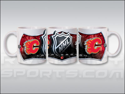 CALGARY FLAMES 11OZ SUBLIMATED COFFEE MUG. Found in Souvenirs > Glassware