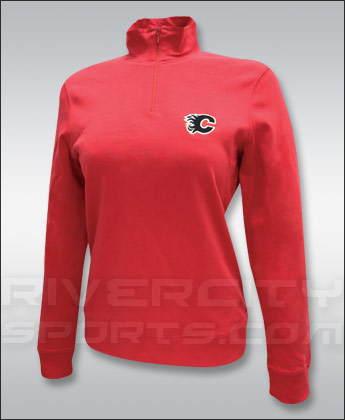 CALGARY FLAMES WOMENS 1/4 ZIP LOGO TOP. Found in Clothing > T-Shirts