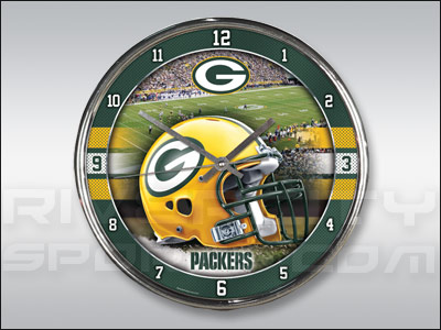 GREEN BAY PACKERS WINCRAFT CHROME CLOCK. Found in Souvenirs > Clocks