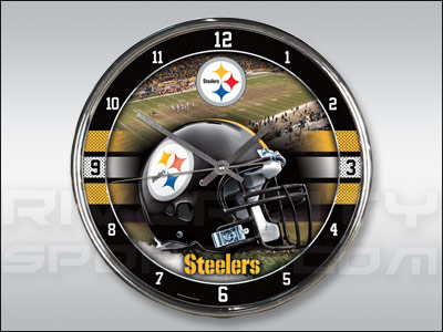 PITTSBURGH STEELERS WINCRAFT CHROME CLOCK. Found in Souvenirs > Clocks