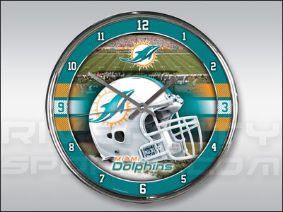 MIAMI DOLPHINS WINCRAFT CHROME CLOCK. Found in Souvenirs > Clocks