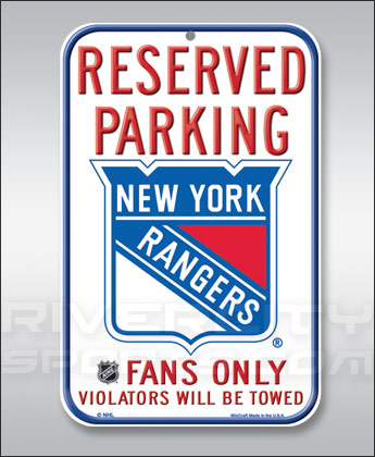 NEW YORK RANGERS WINCRAFT RESERVED PARKING SIGN. Found in Souvenirs > Signs