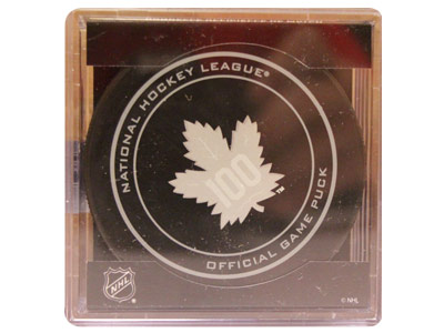TORONTO MAPLE LEAFS 100TH ANN. GAME PUCK. Found in Souvenirs > Pucks