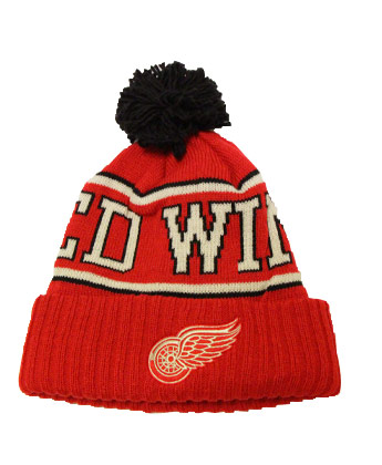 DETROIT RED WINGS WOOL CUFFED KNIT W/POM. Found in Clothing > Hats