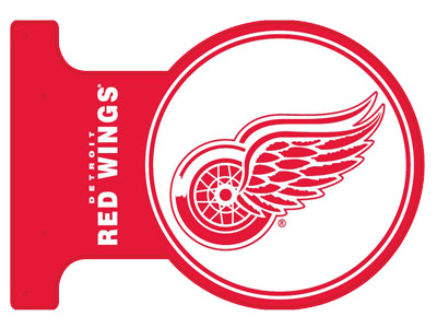 DETROIT RED WINGS METAL FLANGE SIGN. Found in Souvenirs > Home/Offic