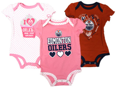 EDMONTON OILERS INF GIRLS 3PK ONESIES. Found in Clothing > Suits