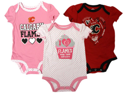 CALGARY FLAMES INF GIRLS 3PK ONESIES. Found in Clothing > Suits