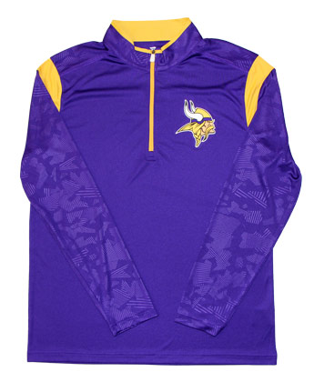 MINNESOTA VIKINGS 1/4 ZIP PULLOVER. Found in Clothing > Shirts