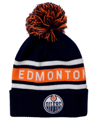 EDMONTON OILERS CULTURE CUFFED POM. Found in Clothing > Hats