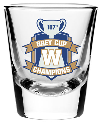 Winnipeg Blue Bombers CHAMPS SHOT GLASS. Found in Souvenirs > Glassware