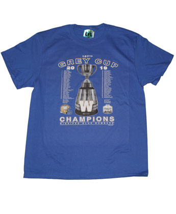 Winnipeg Blue Bombers CHAMPS ROSTER TEE. Found in Clothing > T-Shirts