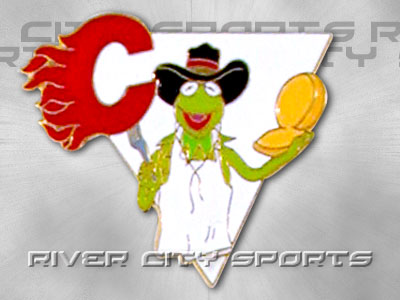 Calgary Flames Muppet Pin Old Style Logo Found In Nhl Souvenirs Pins River City Sports