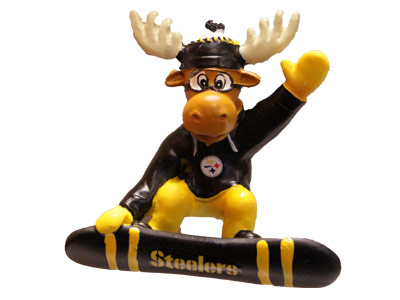 SNOWBOARDING MOOSE in PITTSBURGH STEELERS Found in: NFL > PITTSBURGH STEELERS > Souvenirs > Christmas