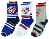 YTH 3PK CREW SOCKS in TORONTO BLUE JAYS Found in: MLB > Toronto Blue Jays > Clothing > Accessorie